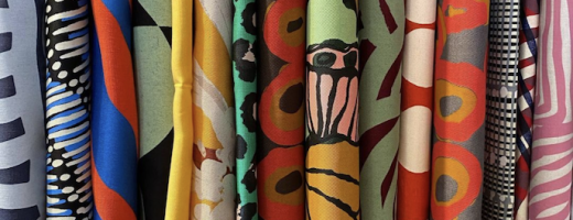 A selection of hand printed textiles